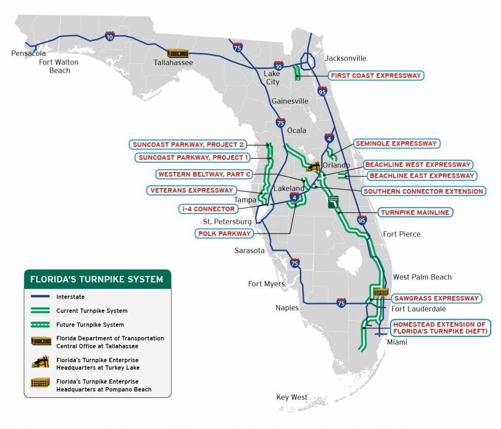 Florida's Turnpike - The Less Stressway - Florida Road Map 2018
