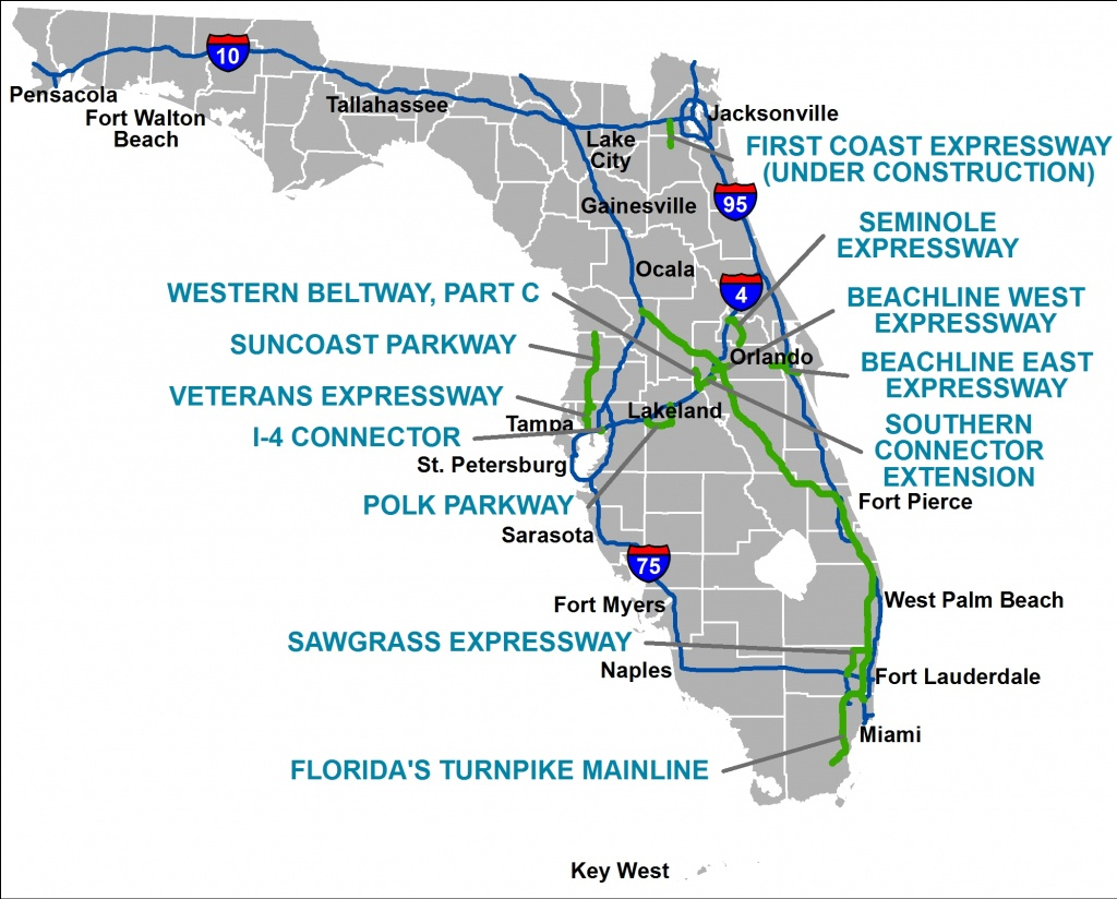 Florida's Turnpike - The Less Stressway - Homestead Florida Map