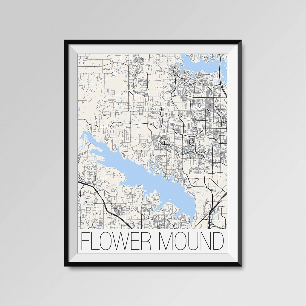 Flower Mound Texas Map Flower Mound City Map Print Flower | Etsy - Flower Mound Texas Map
