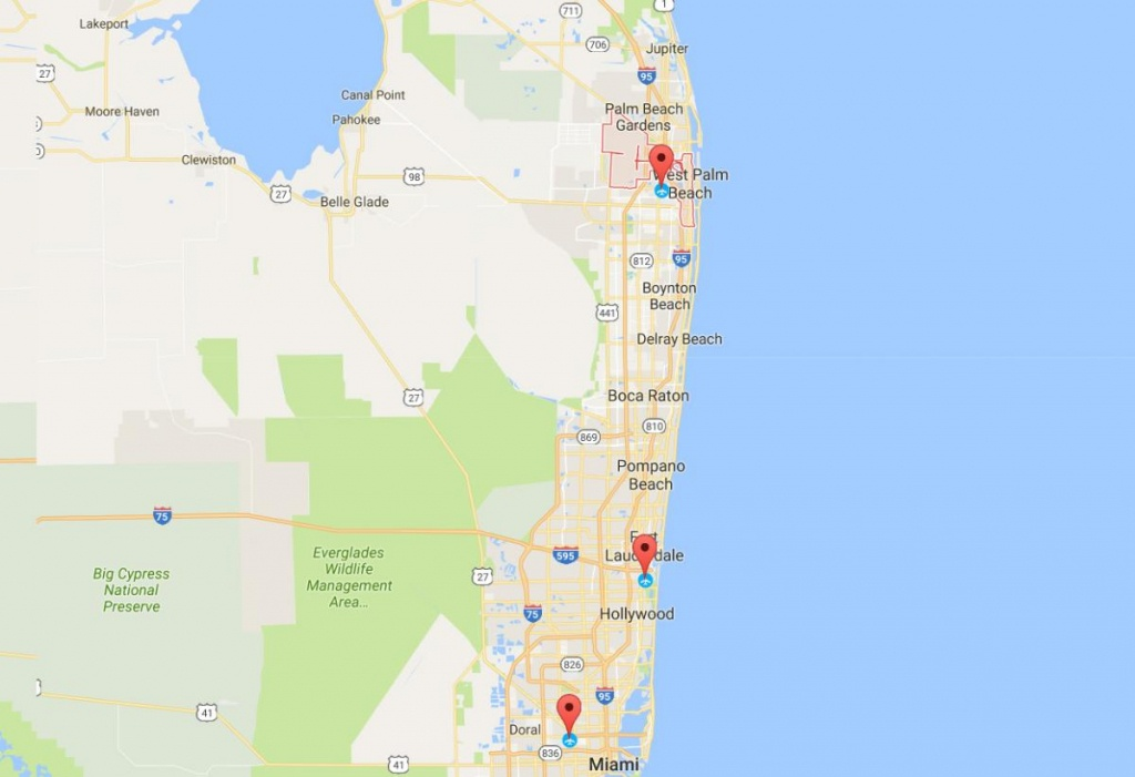 Fly To The Palm Beaches | The Palm Beaches Florida - Jupiter Beach Florida Map