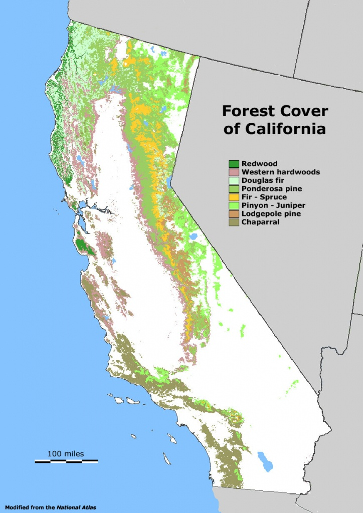 Forest Cover Map Of California [871 × 1232] : Mapporn - Redwood Forest California Map