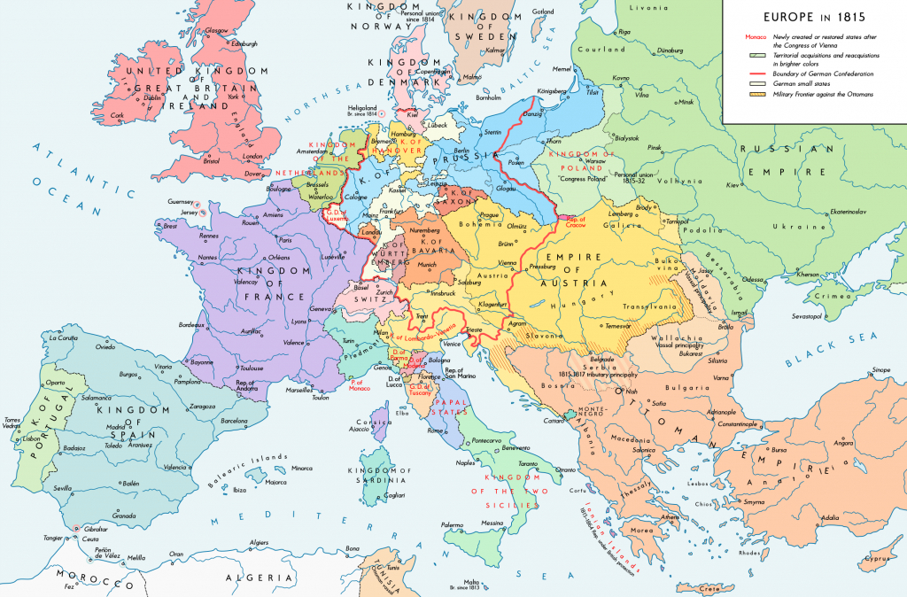 Former Countries In Europe After 1815 - Wikipedia - Free Printable Map Of Europe