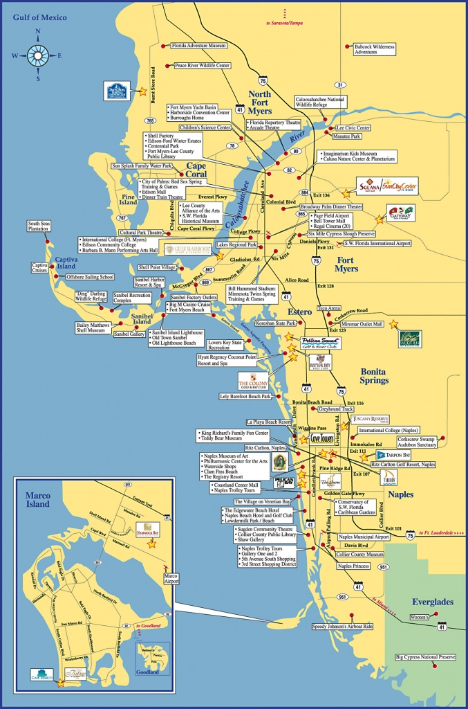 Fort Meyers Tourist Map - Fort Meyers Florida • Mappery - Map Of Naples Florida And Surrounding Area