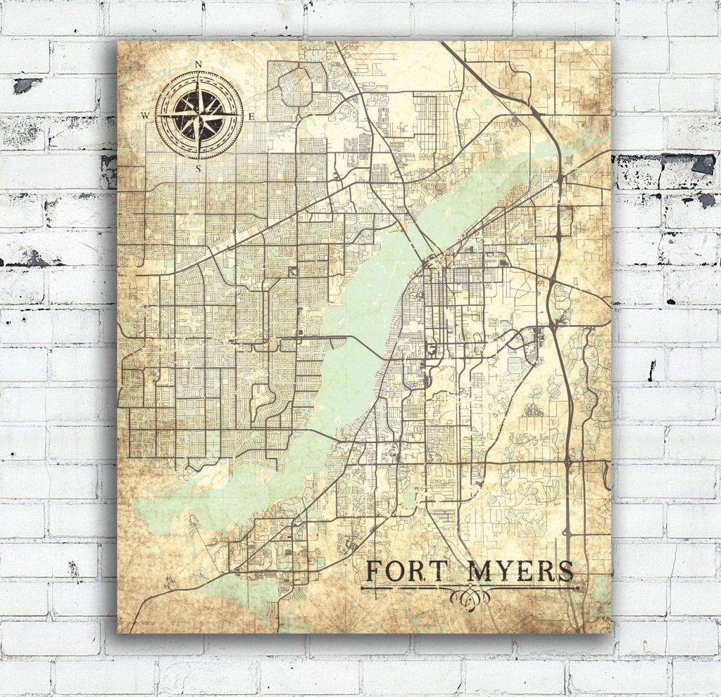 Fort Myers Fl Canvas Print Florida Vintage Map Fort Myers Vintage - Printable Map Of Ft Myers Fl
