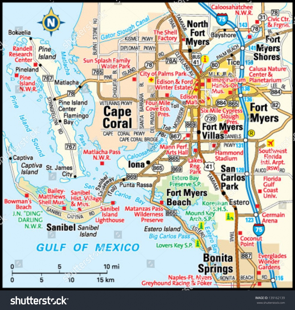 Fort Myers Florida Area Map Stock Vector (Royalty Free) 139162139 - Fort Meyer Florida Map