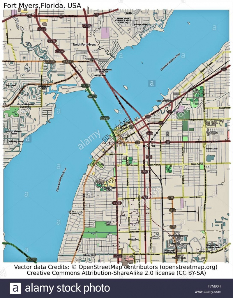 Fort Myers Florida Usa City Map Stock Photo: 90800545 - Alamy - Street Map Of Fort Myers Florida