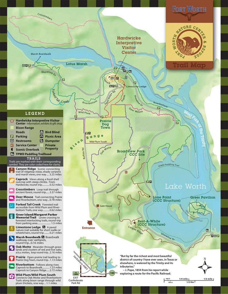 Fort Worth Nature Center & Refuge   Trails - Texas Hiking Trails Map