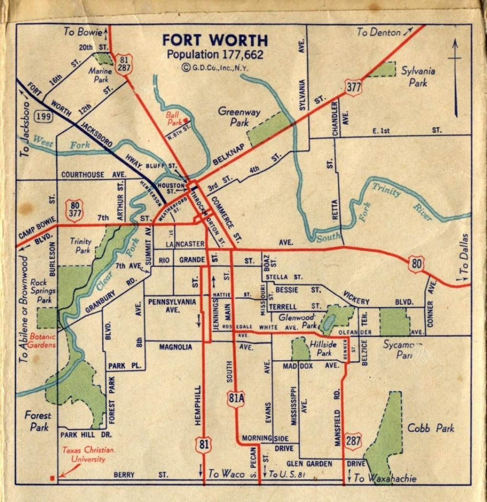 Fort Worth Street Map C1940 | Foat Wuth I Luv U! | Fort Worth Map - Street Map Of Fort Worth Texas