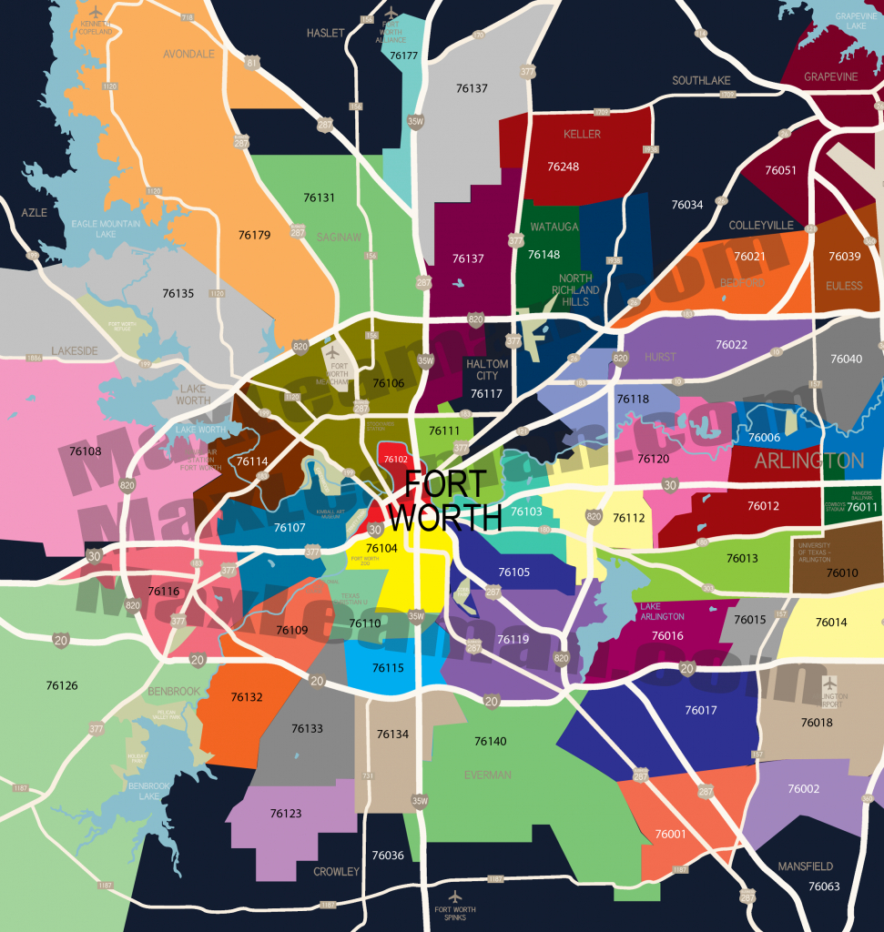 Fort Worth Zip Code Map | Mortgage Resources - Dallas Zip Code Map Printable