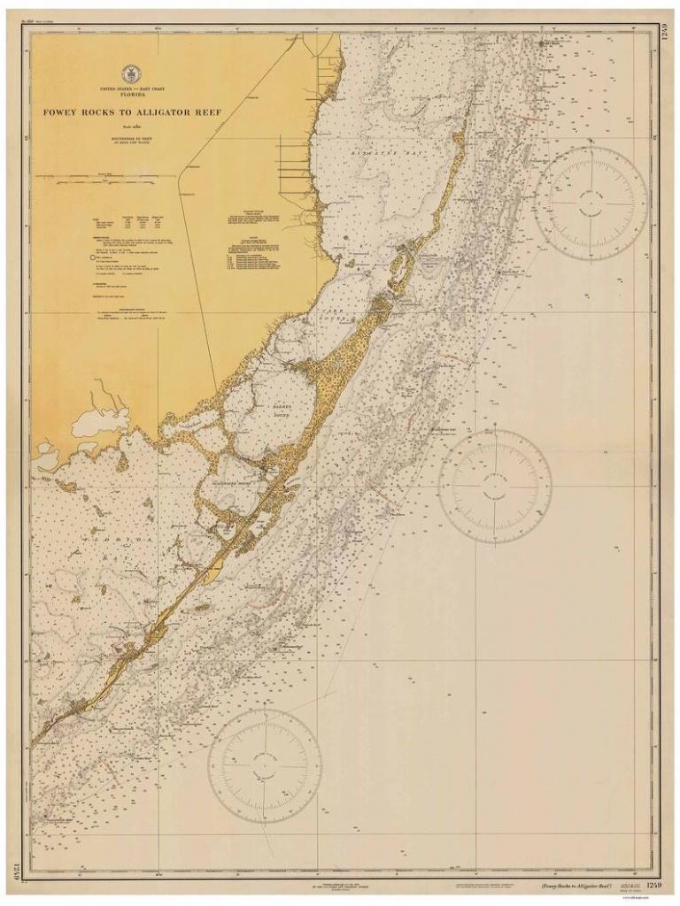 Fowey Rocks To Alligator Key 1935-Nautical Map Florida City | Etsy - Water Depth Map Florida