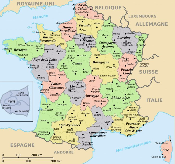 Large Printable Map Of France