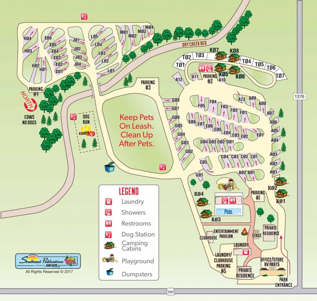 Fredericksburg, Texas Campground | Fredericksburg, Texas Koa - South Texas Rv Parks Map