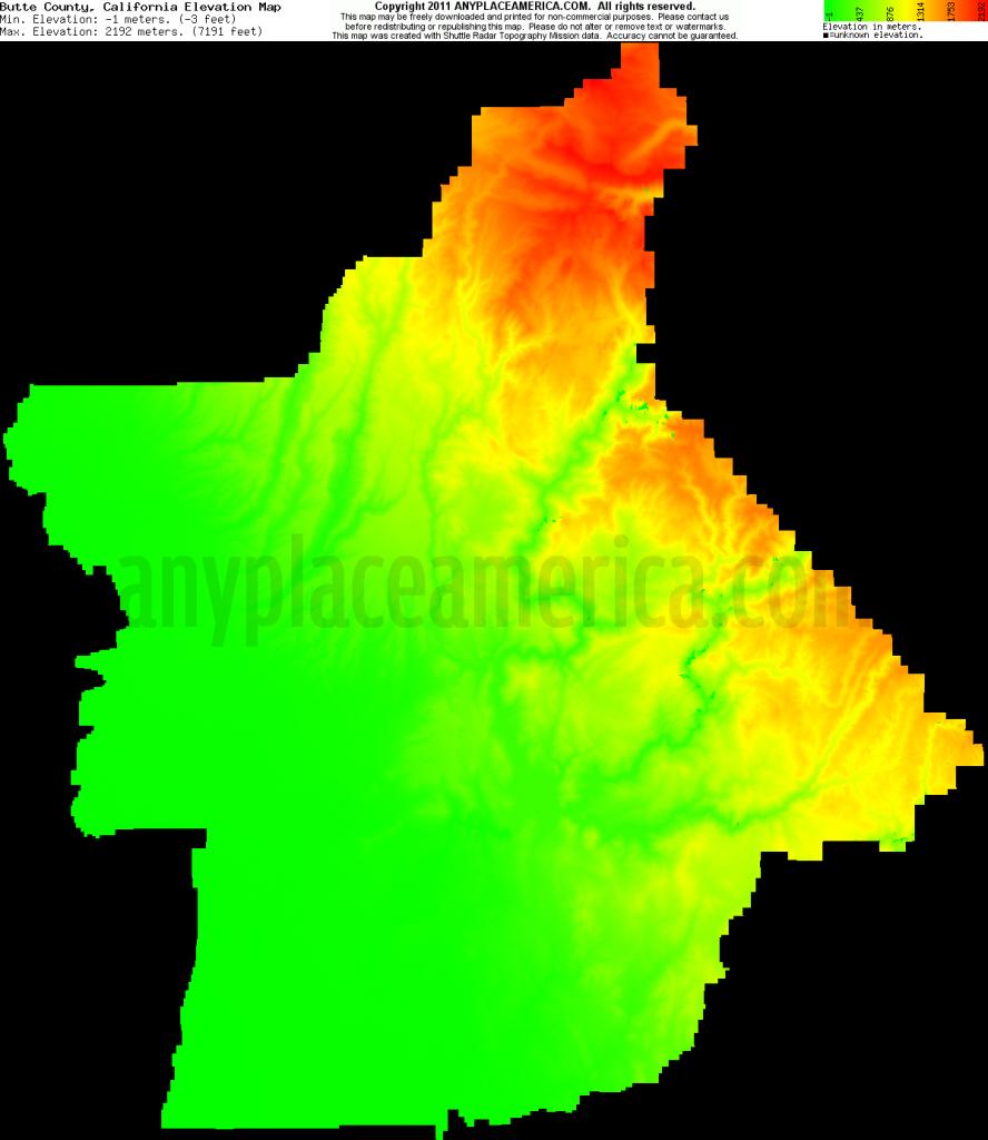Free Butte County, California Topo Maps & Elevations - California Topographic Map Elevations