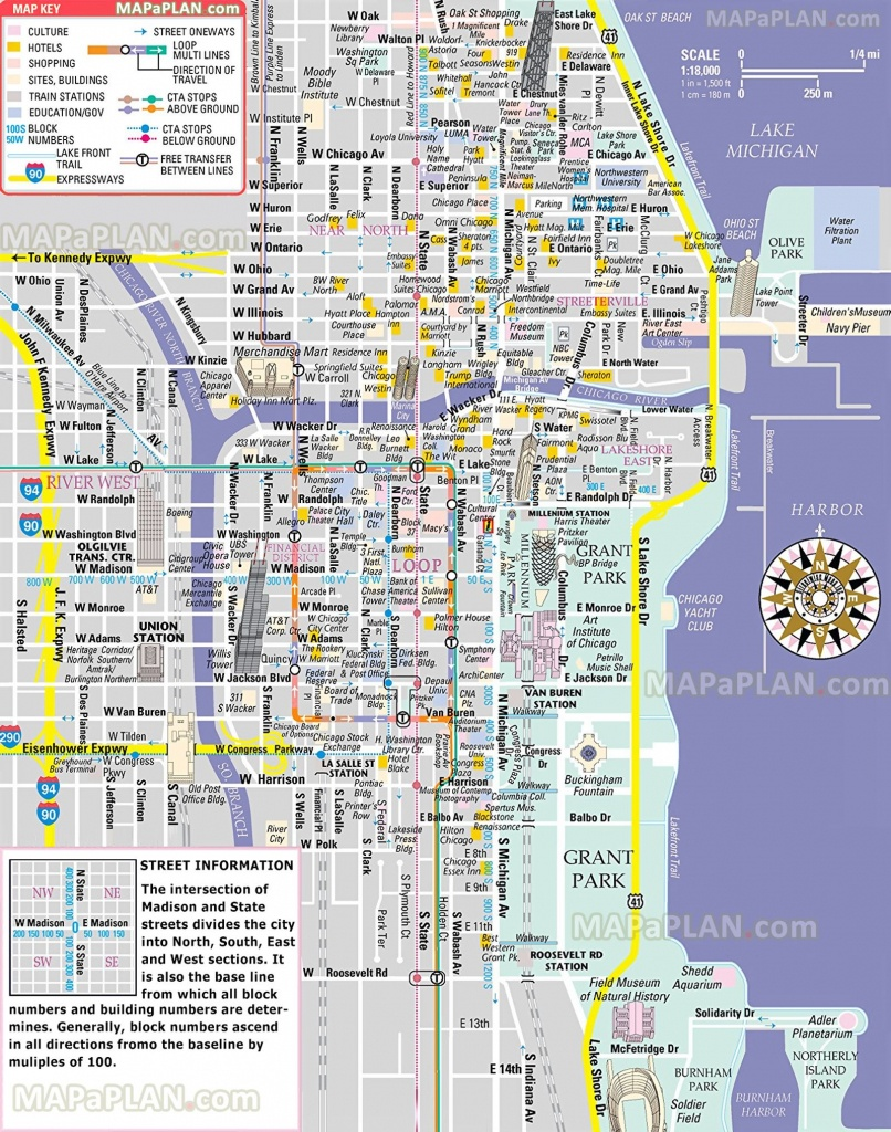 Free Inner City Magnificent Mile Shopping Malls Main Landmarks Great - Magnificent Mile Map Printable