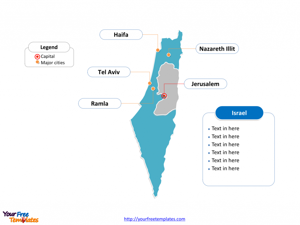 Free Israel Editable Map - Free Powerpoint Templates - Israel Outline Map Printable
