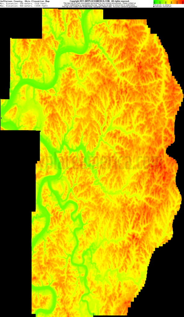 Free Jefferson County, Ohio Topo Maps & Elevations - Jefferson County Texas Elevation Map