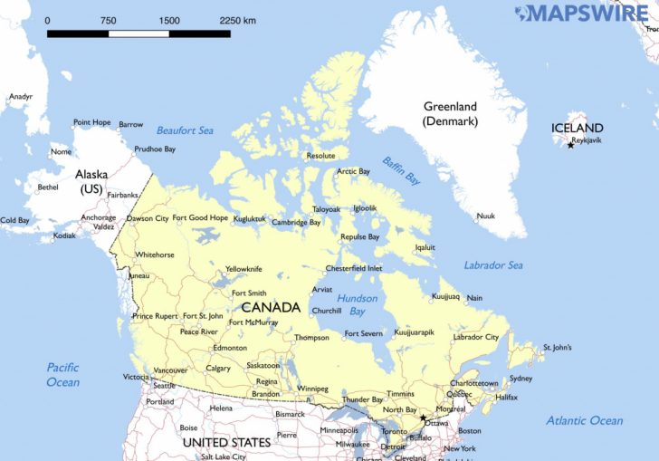 Large Printable Map Of Canada
