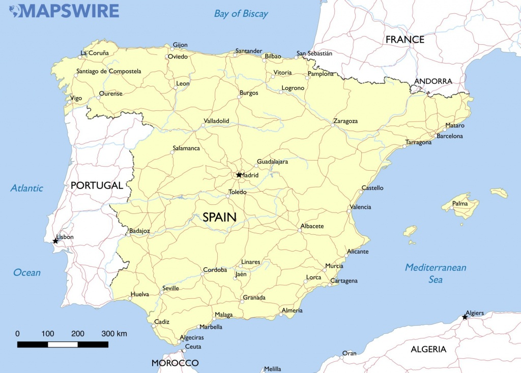 Free Maps Of Spain – Mapswire - Printable Map Of Spain With Cities