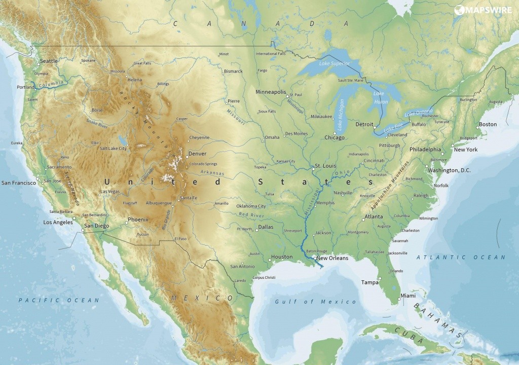 Free Maps Of The United States – Mapswire - Physical Map Of The United States Printable
