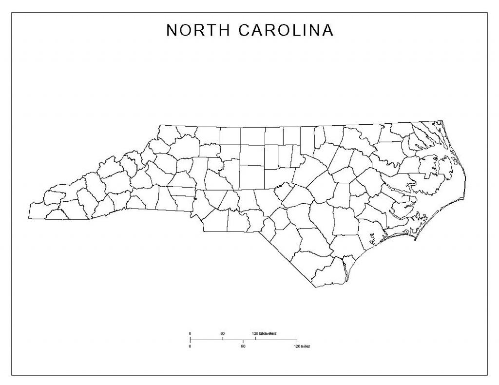 Free North Carolina Map | North Carolina Blank Map | North Carolina - South Carolina County Map Printable