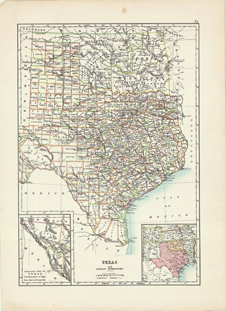 Free Old Map Of Texas And 9 Other Southern States - Picture Box Blue - Free Old Maps Of Texas
