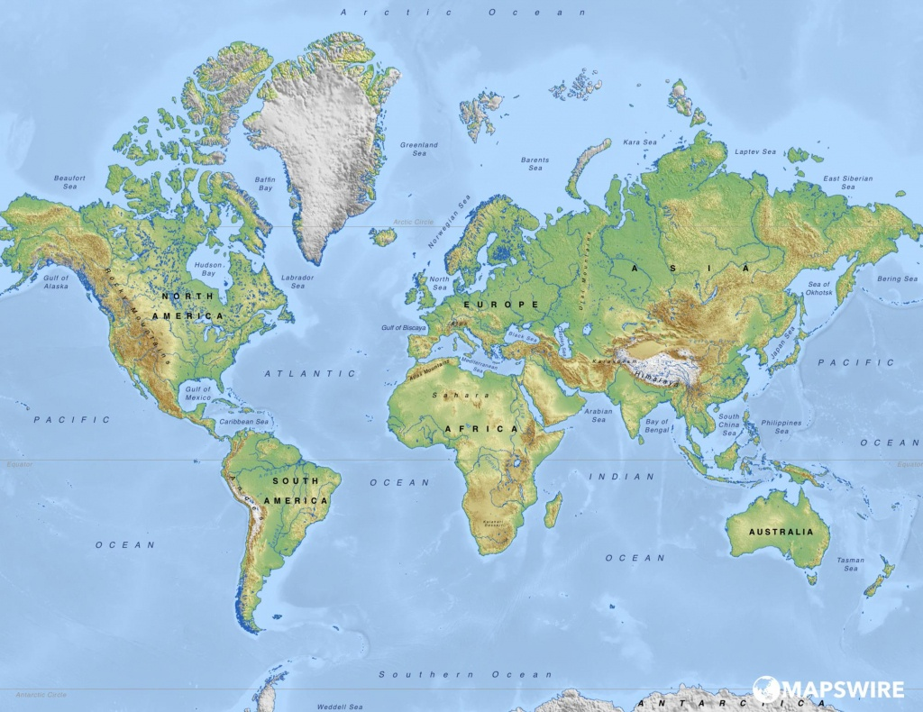 Free Physical Maps Of The World – Mapswire - World Physical Map Printable