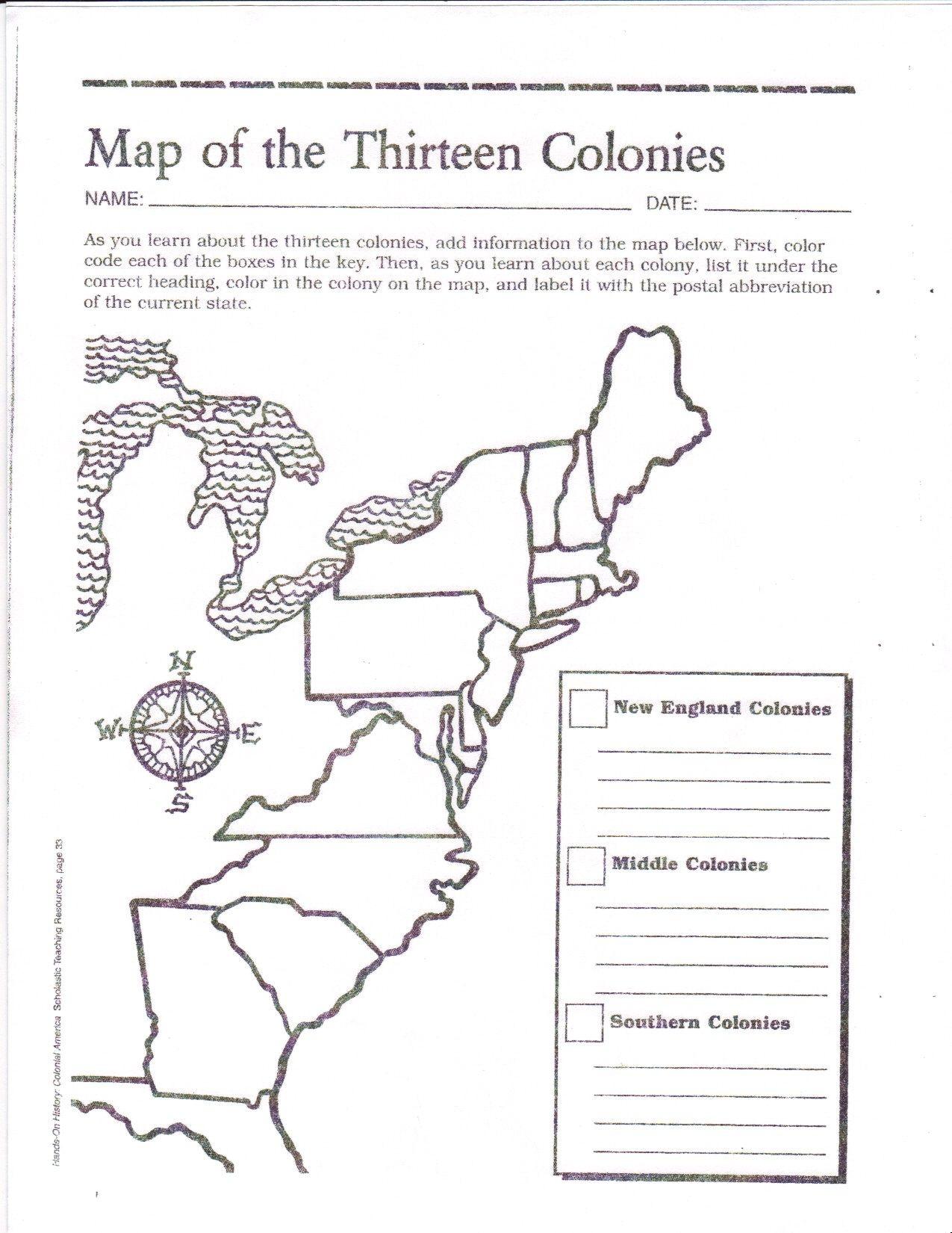 Free Printable 13 Colonies Map … | Activities | 7Th G… - 13 Colonies Blank Map Printable
