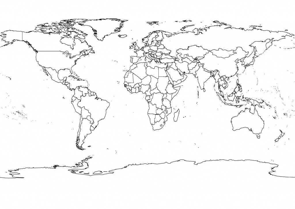 Free Printable Black And White World Map With Countries Labeled And - Printable World Map With Countries Black And White