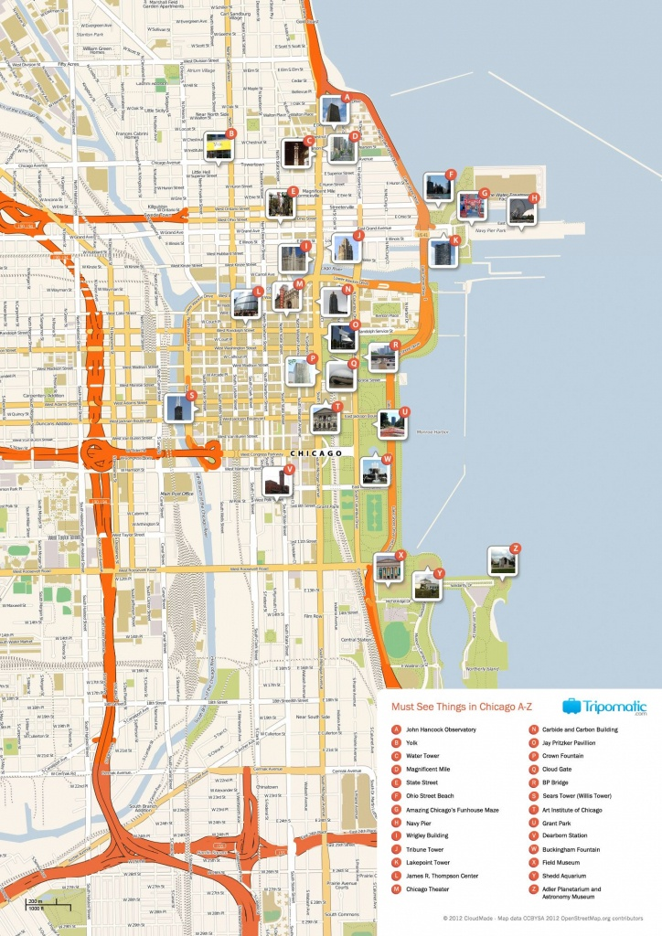 Free Printable Map Of Chicago Attractions. | Free Tourist Maps - Printable Street Map Of Downtown Chicago
