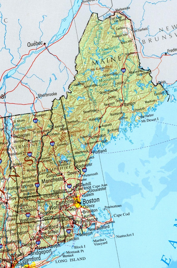 Printable Map Of New England States