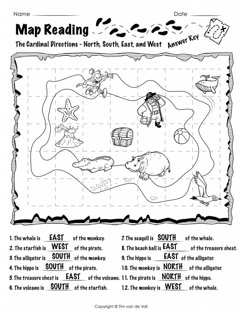 Free Printable Map Reading Worksheets - Tim's Printables - Free Printable Direction Maps