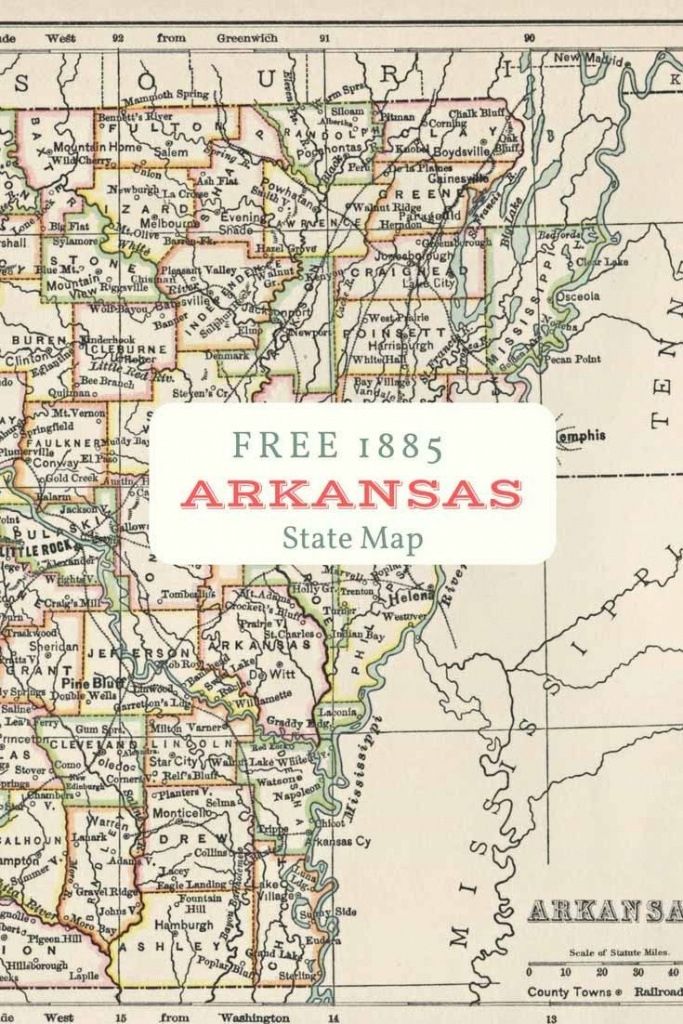 Free Printable Old Map Of Arkansas From 1885. #map #usa | Maps And - Printable Map Of Arkansas