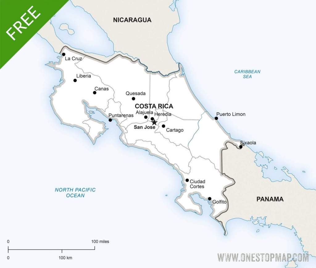 Free Vector Map Of Costa Rica Political | One Stop Map - Printable Map Of Costa Rica