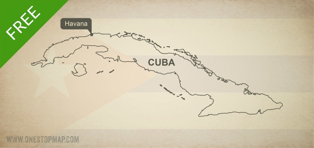 Free Vector Map Of Cuba Outline | One Stop Map - Printable Map Of Cuba