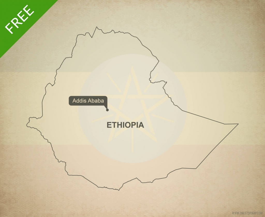 Free Vector Map Of Ethiopia Outline | One Stop Map - Printable Map Of Ethiopia
