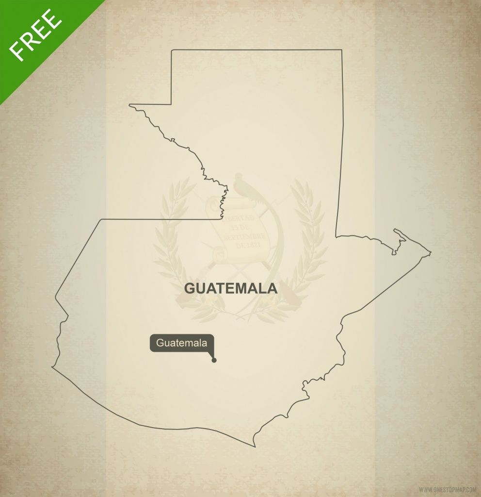 Free Vector Map Of Guatemala Outline   Crochet   Map Vector, Vector - Printable Map Of Guatemala