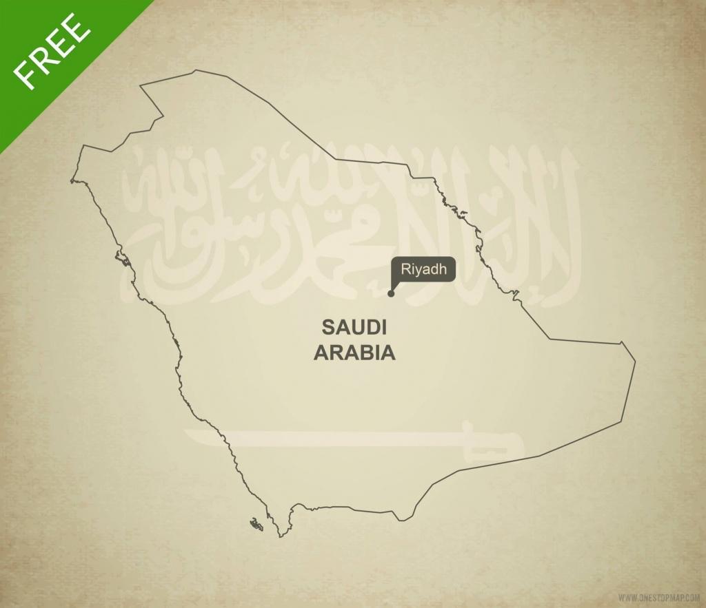Free Vector Map Of Saudi Arabia Outline   One Stop Map - Printable Map Of Saudi Arabia