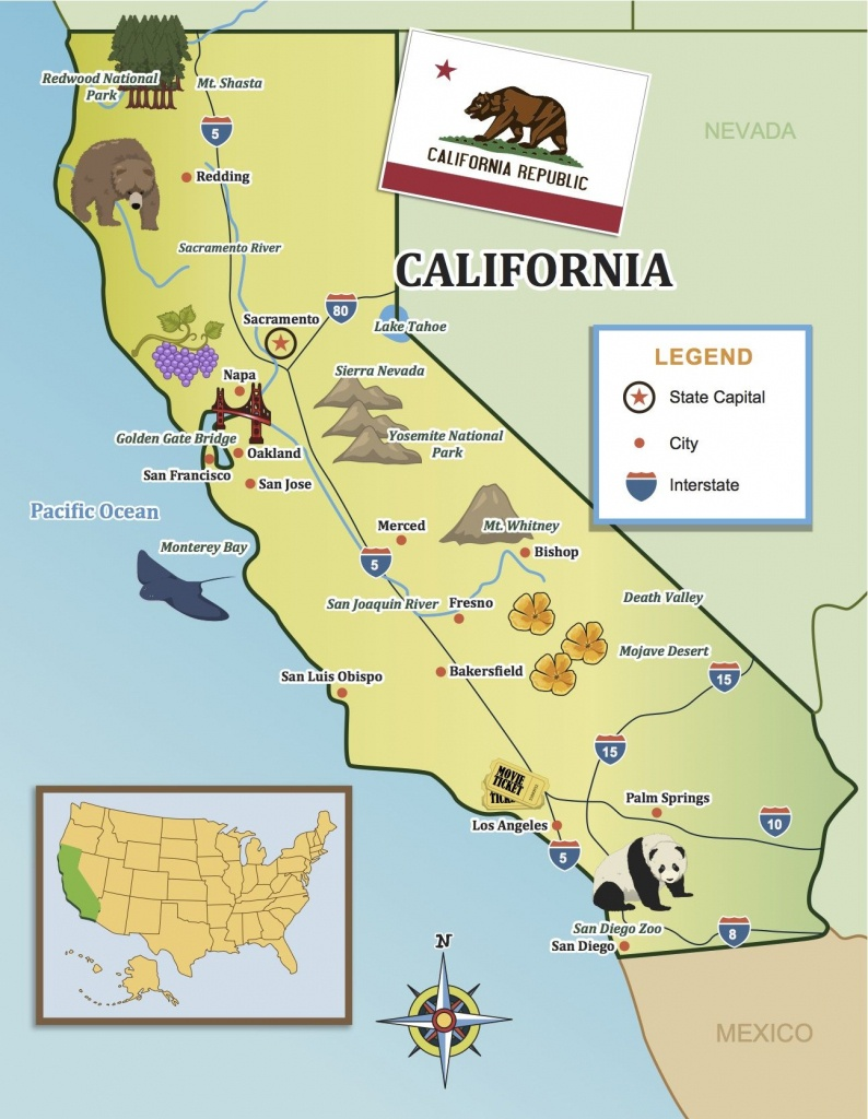 From The Golden Gate To The Beaches Of Socal, Show Your Kids - California Map For Kids