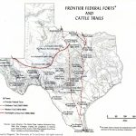 Frontier Federal Forts And Cattle Trails In Texas Historical Map   Texas Cattle Trails Map