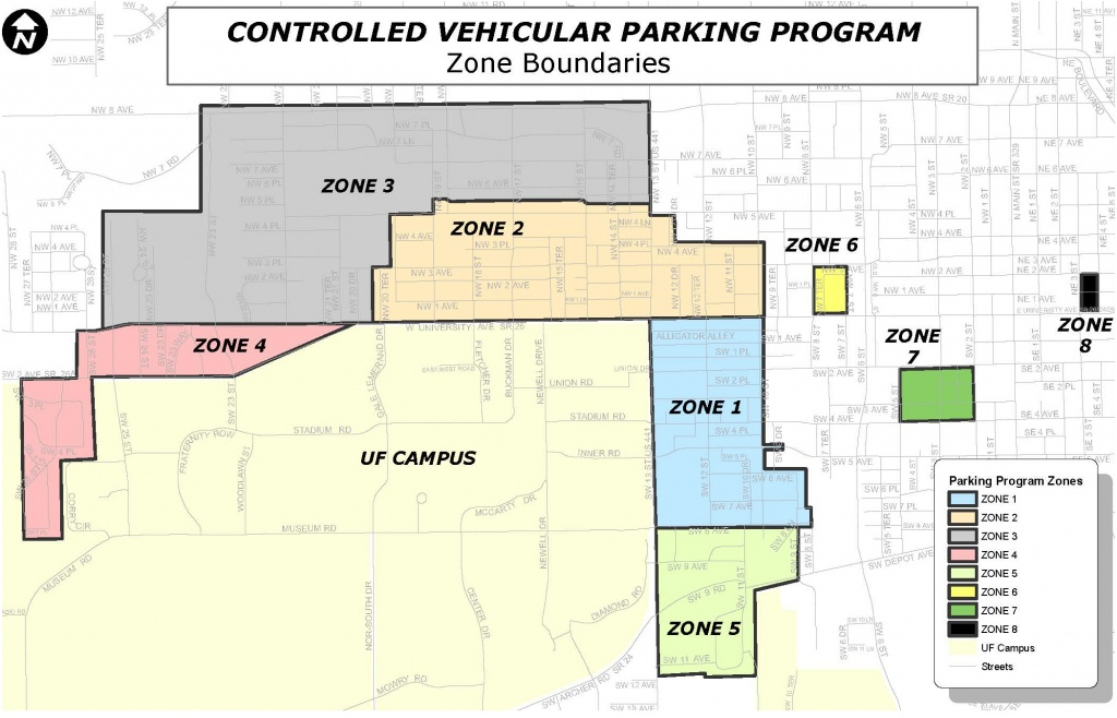 Gainesville Neighborhood Parking Map | Gatorpads - Map Of Gainesville Florida Area