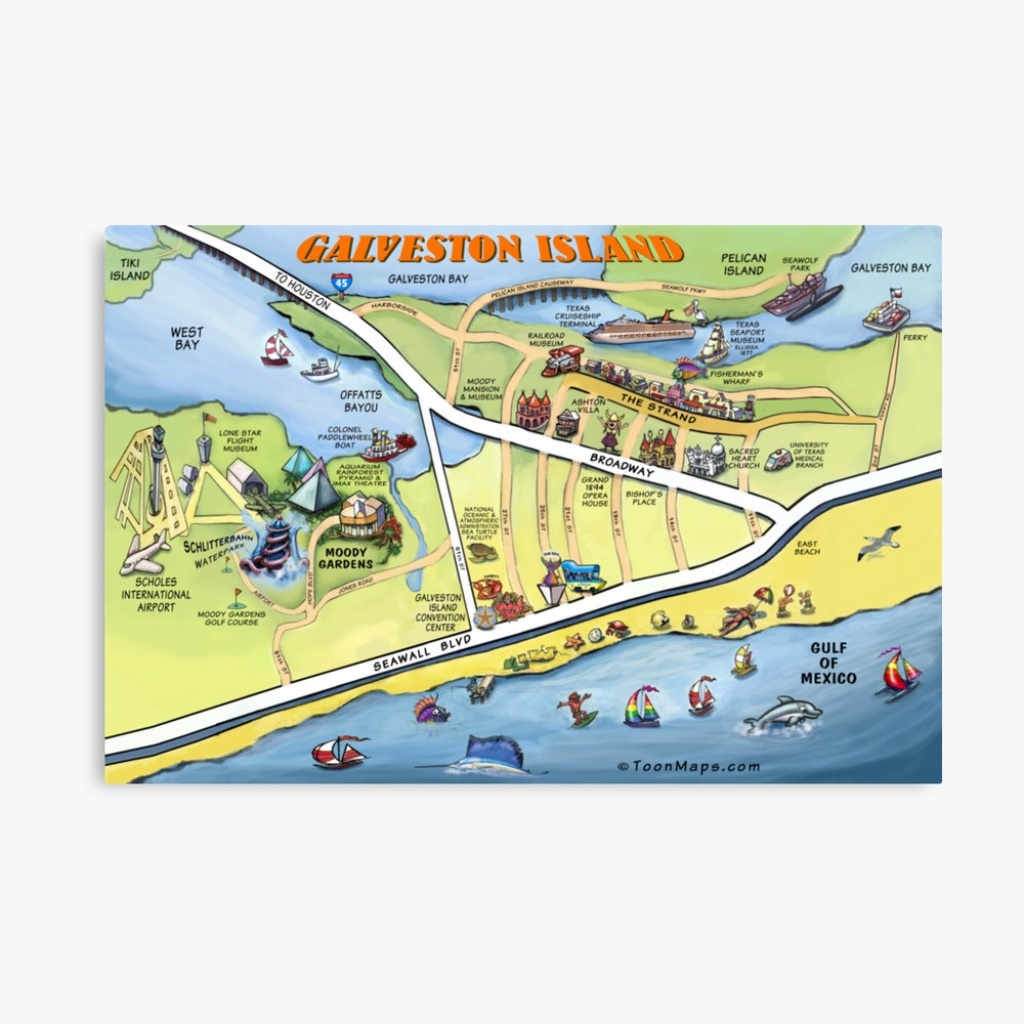 "Galveston Texas Cartoon Map"" Canvas Printkevinmiddleton 