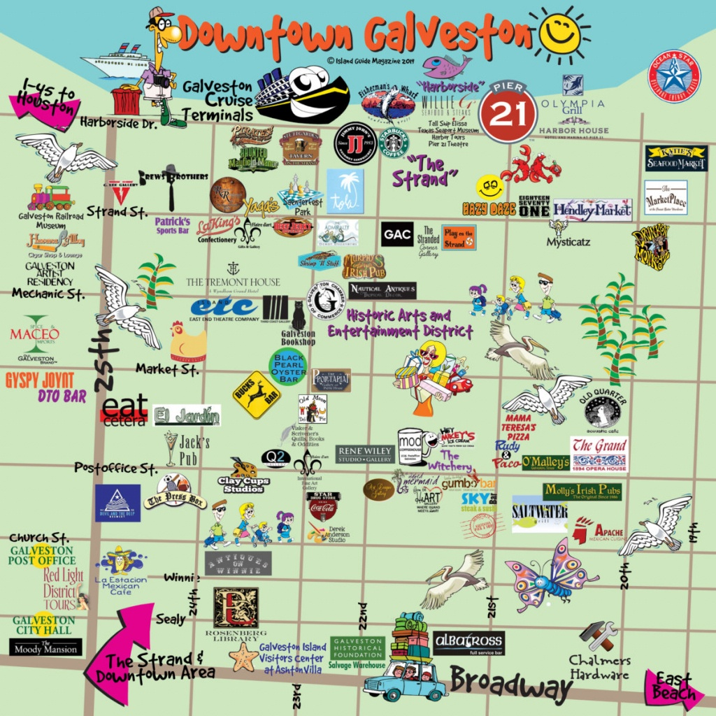 Galveston, Tx - Galveston Fun Maps - Galveston Island Guide - Map Of Galveston Texas