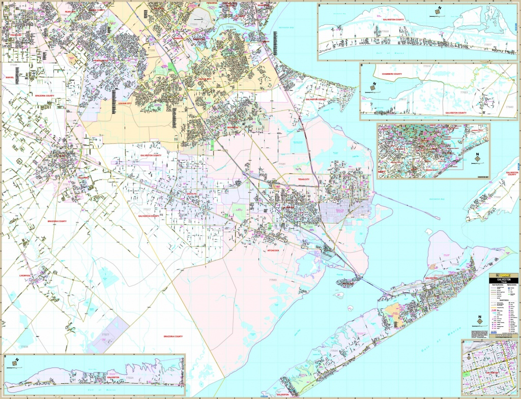 Galveston, Tx Wall Map - Maps - Map Of Galveston Texas