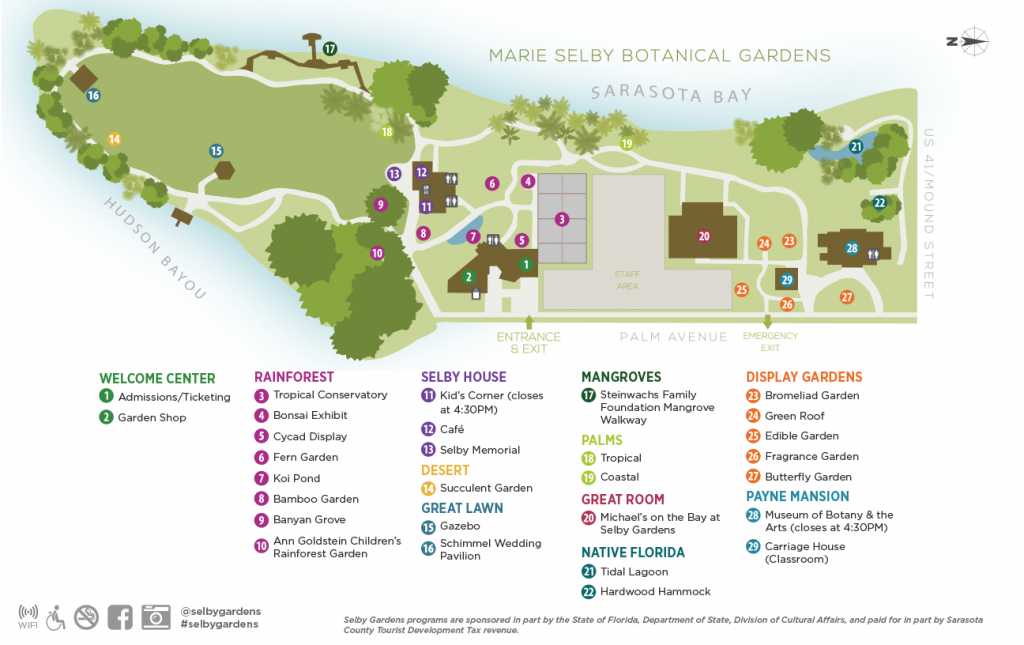 Garden Map - Marie Selby Botanical Gardens - Florida Botanical Gardens Tourist Map