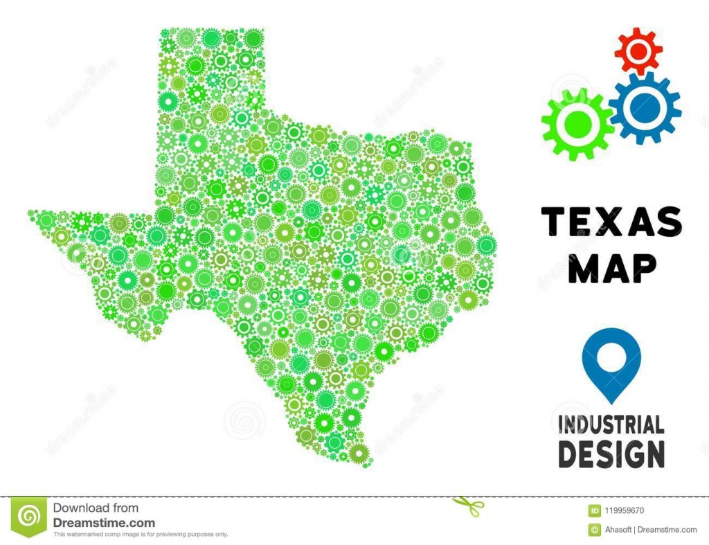 Gears Texas Map Collage Stock Vector. Illustration Of Collage - Geographic Id Map Texas