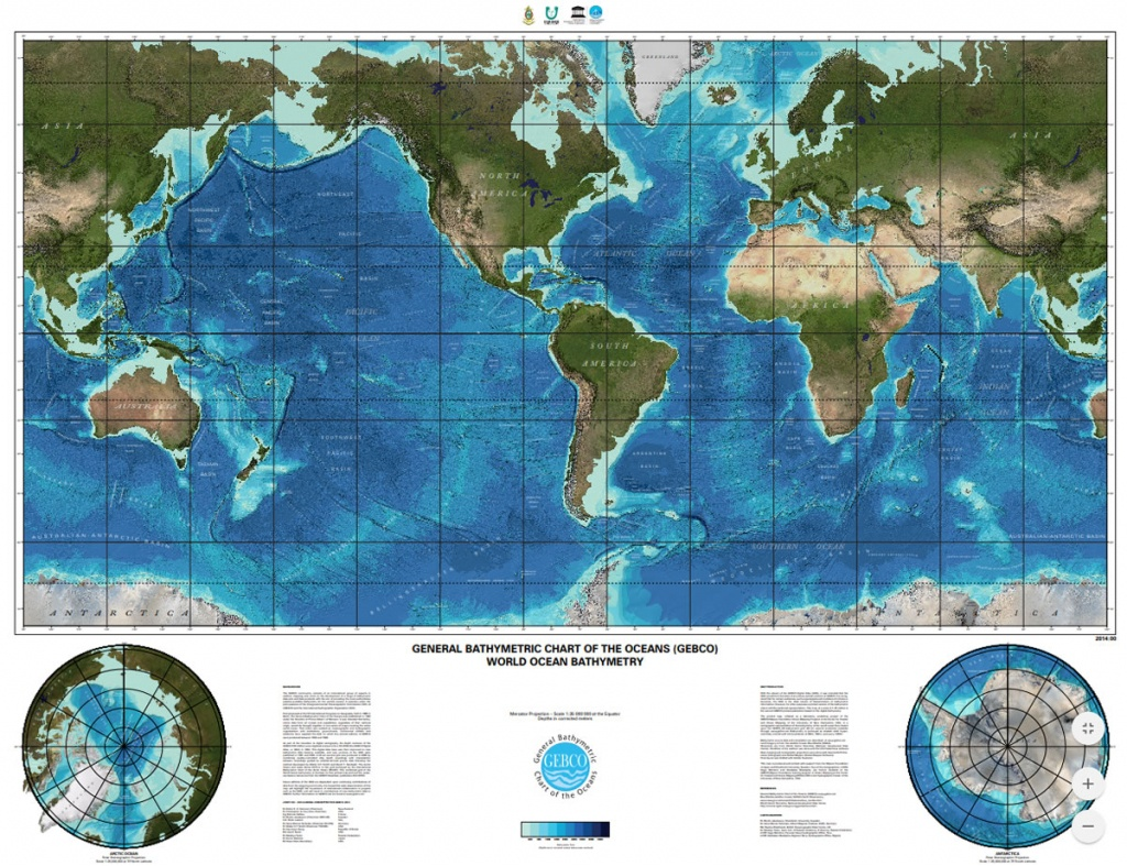 Gebco Printable Maps - Topographic World Map Printable