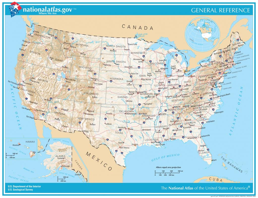 General Reference Printable Map - National Atlas Printable Maps