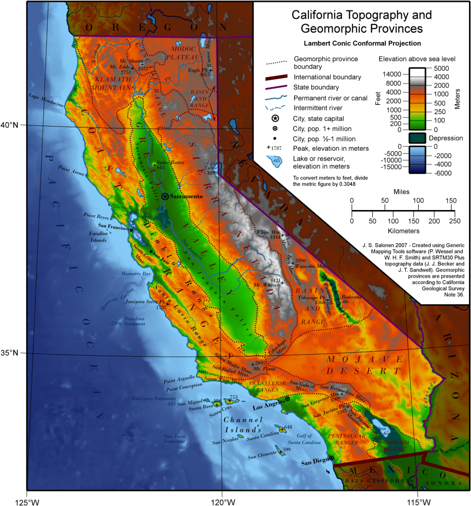 Geography Of California - Wikipedia - Map Of Central And Southern California Coast