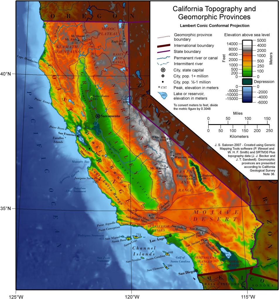 Geography Of California - Wikipedia - Snow Level Map California