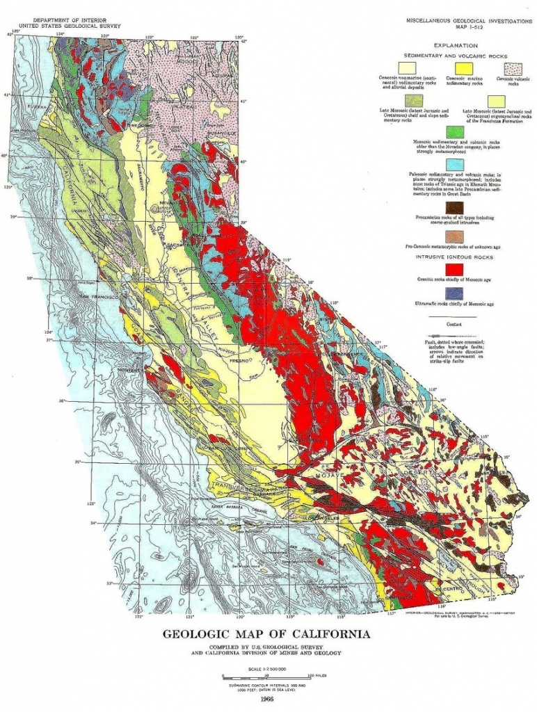 Geological Rock Formations Map Of California. United States - California Geological Survey Maps